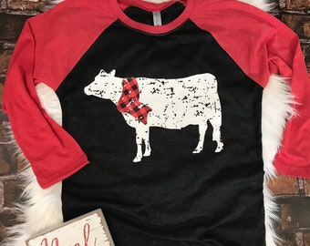 Cow Christmas Raglan Farm Christmas Buffalo Plaid Holiday Shirt For Women