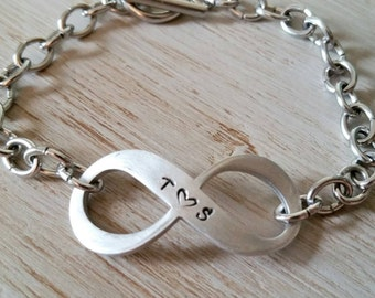 Personalized Initial Bracelet - Infinity Bracelet - Couples Jewelry - Anniversary Gift - Gift for Her