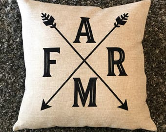 Farm Arrow Pillow, Farmhouse Pillow, New Home Decor, Farmhouse Decor, Faux Burlap Pillow, Throw Pillow