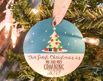 Our First Christmas as Mr and Mrs Ornament - Custom Christmas Ornament - Our First Christmas Ornament - Personalized Christmas Ornament