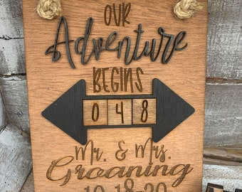 Wedding Countdown Sign, Engagement Gift For Couple, Days Until, Countdown to Wedding, Wooden Countdown