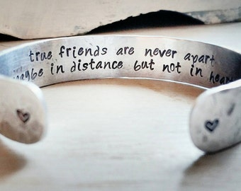 "Bridesmaid or Best Friend Gift - ""true friends are never apart maybe in distance but not in heart"" - Wedding Party Gift - Maid of Honor"