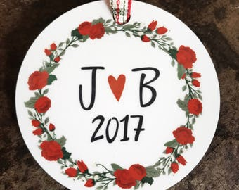 New Couple Christmas Ornament - Couple Initials Christmas Ornament -Custom Christmas Ornament - Our First Christmas Ornament