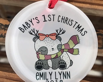 Babys 1st Christmas Ornament -  Babys First Christmas Ornament - Panda Christmas Ornament - Baby Girl Ornament - Personalized Baby Ornament