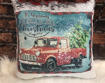 Christmas Pillow, Vintage Red Truck Christmas Pillow,  Red Truck Christmas Pillow, Red Sequin Pillow, Farmhouse Christmas Pillow
