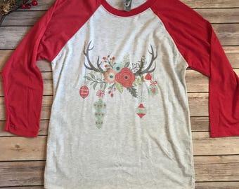 Rustic Ornament T-Shirt, Women's T-shirt, Vintage Shirt, Christmas Shirt, Graphic Shirt, Raglan T-Shirt, Holiday shirts