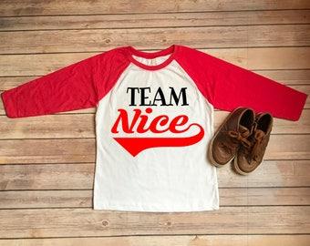 Kids Christmas Tee/Team Nice Tee/Christmas Raglan Shirt/Christmas Shirt for Kids/Boys Christmas Tee/Girls Christmas Tee