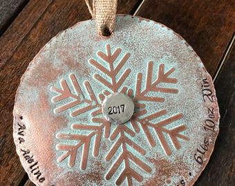 Babys 1st Christmas Ornament -  Babys First Christmas Ornament - Custom Christmas Ornament - New Baby Ornament - Snowflake Ornament