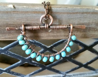 Antique Copper Wire-Wrap Necklace - Woven Beaded  Link Necklace - Turquoise Beaded Necklace