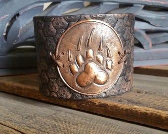 Leather Cuff Bracelet - Fenrir Wolf Paw - Wolf Bracelet - Celtic Leather Cuff - Black Leather Cuff - Rustic Mens Cuff