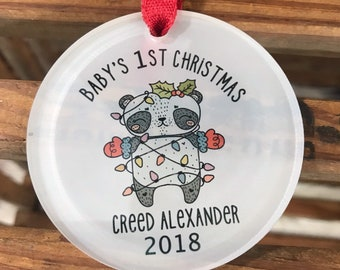 Babys 1st Christmas Ornament -  Babys First Christmas Ornament - Panda Christmas Ornament - New Baby Ornament - Personalized Baby Ornament