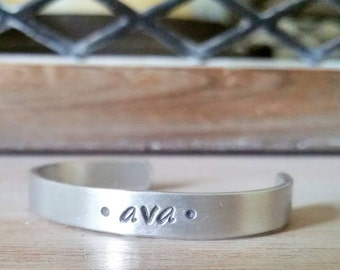 Personalized Child Name Bracelet - Girls Cuff - Boys Cuff - Kids Aluminum Cuff Bracelet