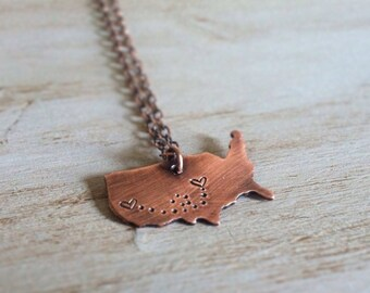 Long Distance Relationship Necklace - Miles Apart Necklace - State to State Necklace  - Personalized Copper Necklace