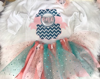First Birthday Outfit Girl 1st Birthday Bodysuit Baby Girls 'One' Birthday Tutu Outfit