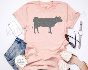 Cow t-shirt, Women's Tee, Distressed Cow T-Shirt, Farm Shirt , Farm Tee, Graphic Tee, Trendy Shirt, Women's Apparel