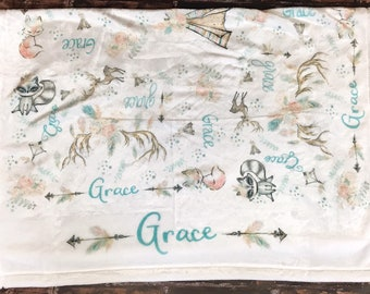 Personalized Baby Name Blanket Woodland Crib Blanket for Baby Girl