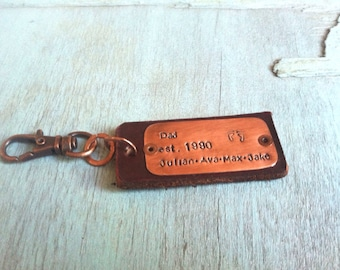 Fathers Day Personalized Keychain - New Dad Gift - Fathers Day Gift - Gift for Dad - Kids Name Gift for Dad - Grandpa Gift