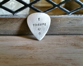 I Plucking Love You - Hand Stamped Guitar Pick - Music Lover Gift - Gift For Him - Personalized Pick