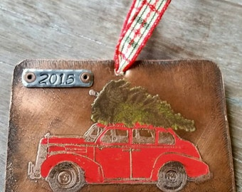 Personalized Family Christmas Ornament 2018 Christmas Tree Vintage Red Car