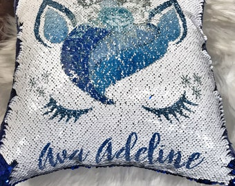 Custom Name Pillow Sequin Pillow Snow Unicorn Pillow Kids Pillow Unicorn Pillow Unicorn Decor Personalized Name Pillow Ice Princess Decor