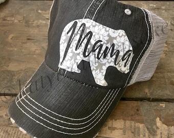 Mama Bear Trucker Hat for Women, Distressed Trucker Hat, Mama Bear Baseball Cap, New Mom Gift, Mom Trucker Hat