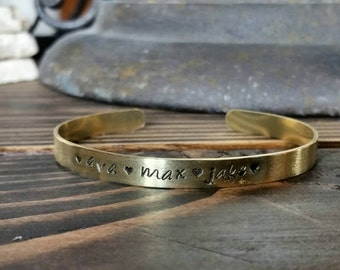 Mothers Day Gift - Personalized Name Bracelet - Mom Bracelet - Kids Name Cuff Bracelet -Brass Cuff Bracelet - Mothers Cuff Bracelet