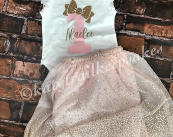 First Birthday Outfit Girl//1st Birthday Outfit//Girls First Birthday Outfit//One Birthday Girl//Gold and Pink 1st Birthday Outfit