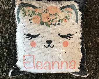 Custom Name Pillow, Sequin Pillow, Mermaid Pillow, Kids Pillow, Cat Pillow, Cat Decor, Personalized Name Pillow, Birthday Gift For Girls