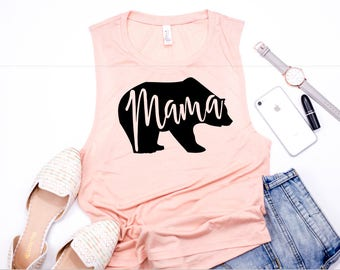 Mama Bear Muscle Tank, Women's Tank, Mom Tank, Mama Shirt , Pregnancy Reveal Shirt, Baby Shower Gift for Mom, Mothers Day Gift