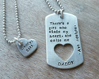 Personalized Fathers Necklace - Mens Family Necklace - Daddy Daughter Jewelry - Custom Fathers Necklace - Gift for Dad