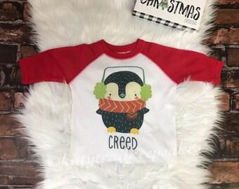 Baby Christmas Shirt/Christmas Shirt for Baby/Baby Name Christmas Shirt/Funny Christmas Baby/Penguin Christmas Shirt/Personalized Christmas