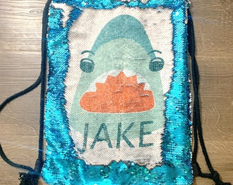 Personalized Sequin Shark Bag For Boys Shark Bag Party Favor