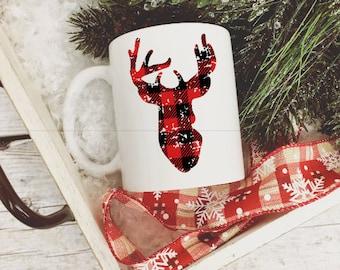 Deer Buffalo Plaid Coffee Mug/Red Plaid Deer Christmas Coffee Mug/Christmas Mug/Holiday Coffee Mug/Coffee Gift/Christmas Coffee Cup