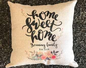 Home Sweet Home Pillow, New Home Decor, Home Pillow, Faux Burlap Pillow, Personalized Family Pillow