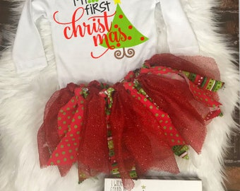 First Christmas Outfit Girl Baby's 1st Christmas Outfit Baby Girls First Christmas Tutu Outfit Christmas Baby Outfit Baby's Christmas Tutu