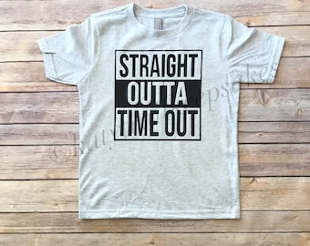 Straight Outta Timeout Tshirt for Boys, Funny Boys Tee, Little Boys Tee Shirt, Hipster Boys Tee, Trendy Tee for Boys, Graphic Tee