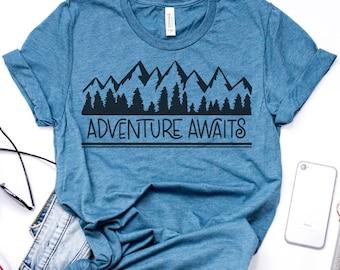 Adventure Awaits, Hiking Shirt, Camping Shirt, Outdoor Shirt, Outdoors Gift, Outdoor Lover Shirt, Hiking Lover, Camping Lover, Adventure Tee