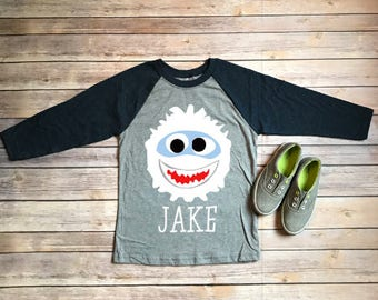 Kids Christmas Tee/Christmas Raglan Shirt/Christmas Shirt for Kids/Funny Christmas Tshirt/Boys Christmas Tee/Abominable Snowman Tee