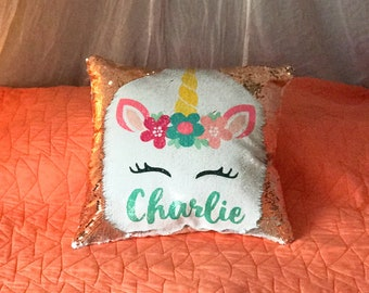 Custom Name Pillow, Sequin Pillow, Mermaid Pillow, Kids Pillow, Unicorn Pillow, Unicorn Decor, Personalized Name Pillow