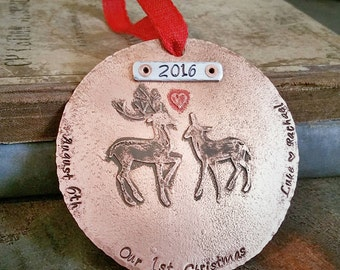 Our First Christmas Ornament Married - Personalized Christmas Ornament - Newlywed - Couples Christmas - Gift under 50 dollars