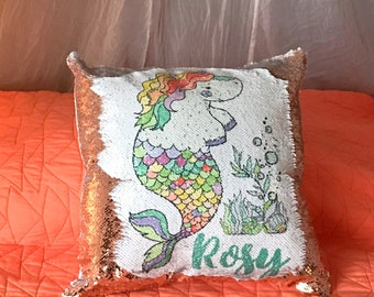 Custom Name Pillow, Sequin Pillow, Mermaid Pillow, Kids Pillow, Unicorn Pillow, Mermaid Decor, Personalized Name Pillow