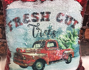 Christmas Pillow, Vintage Red Truck Christmas Pillow,  Red Truck Christmas Pillow, Red Sequin Pillow, Fresh Cut Trees Pillow