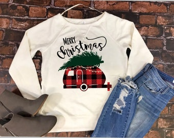 Merry Christmas Sweater, Christmas Sweater for Women, Christmas Shirt, Cute Christmas Sweater, Buffalo Plaid Sweater, Womens Christmas Shirt