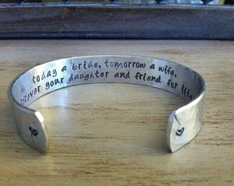 "Mother of the Bride Gift - Brides Gift to Mom - "" today a bride, tomorrow a wife, forever your daughter and friend for life"" - Wedding Party"