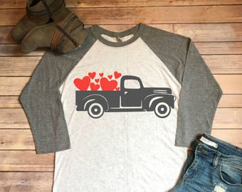 Vintage Truck Valentines Day Next Level Grey and White Raglan Shirt