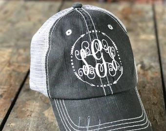 Monogram Trucker Hat for Women, Distressed Trucker Hat, Monogramed Baseball Cap, Bridesmaid Gift, Personalized Trucker Hat