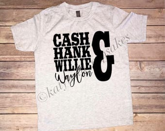 Cash Hank Willie & Walyon Boys Tee, Country Boys Tshirt, Boys Tshirt, Tee for Boys, Country Boys Shirt