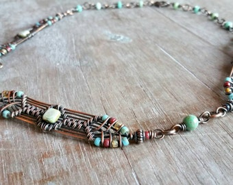 Antique Copper Woven Wire-Wrap Necklace - Woven Beaded  Link Necklace - Art Deco Style Jewelry