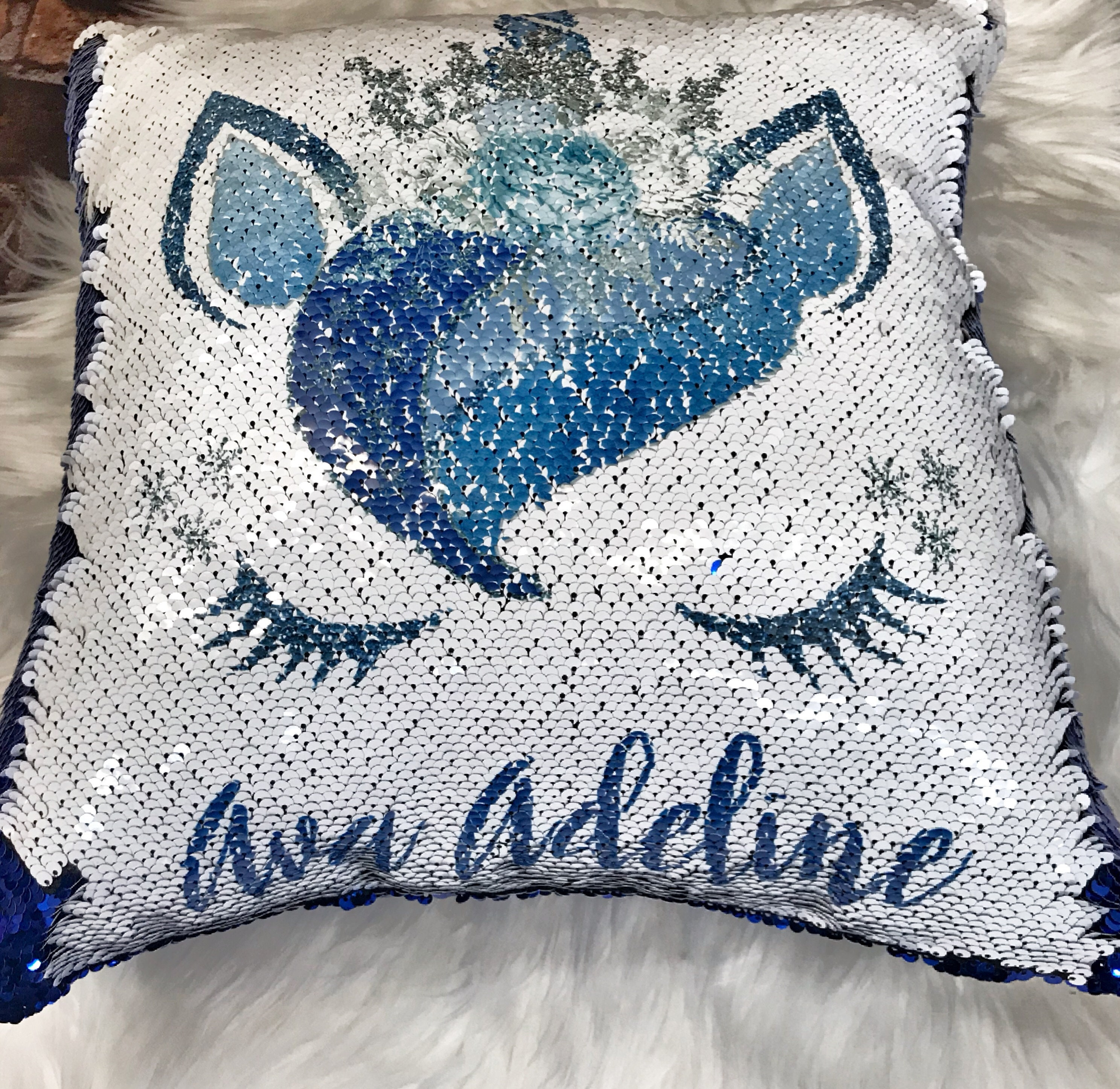 Custom Name Pillow Sequin Pillow Snow Unicorn Pillow Kids Pillow