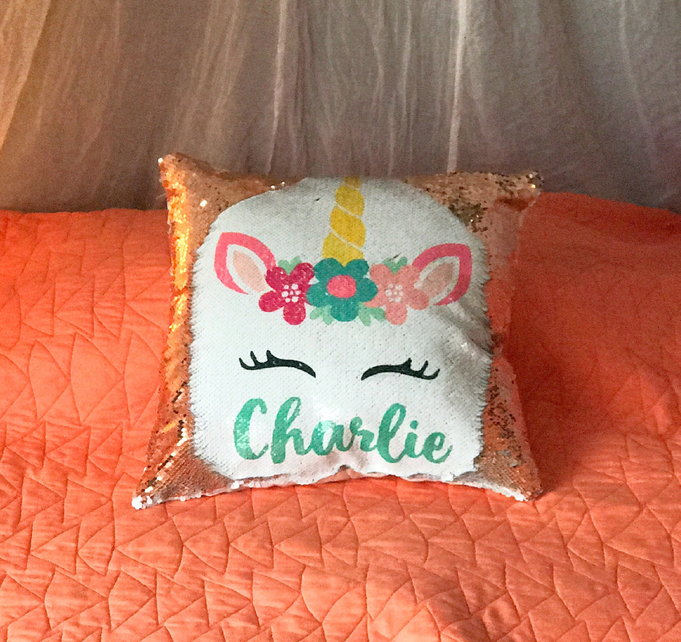 Custom Name Pillow Sequin Pillow Mermaid Pillow Kids Pillow